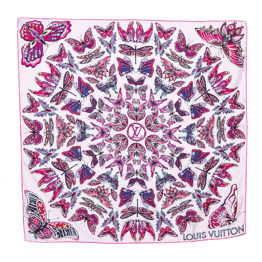 Louis Vuitton Pink World Of Love Silk Square Scarf