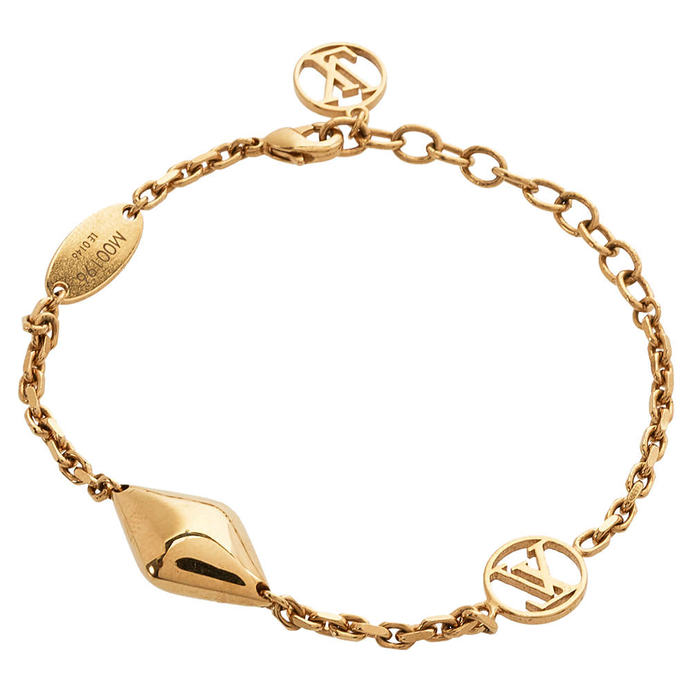 Louis Vuitton Gold Tone Malletage Supple Bracelet