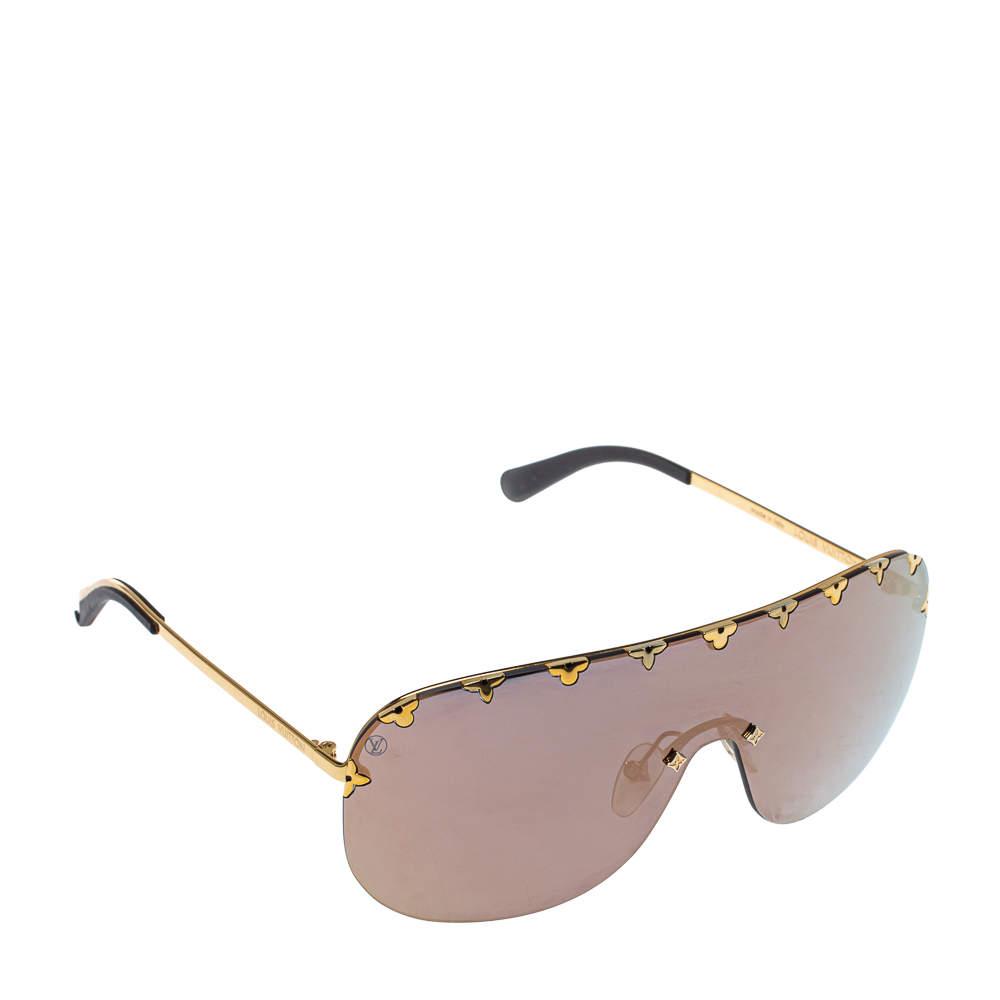Louis Vuitton Gold Tone/ Metallic Mirrored Z2377W Shield Sunglasses