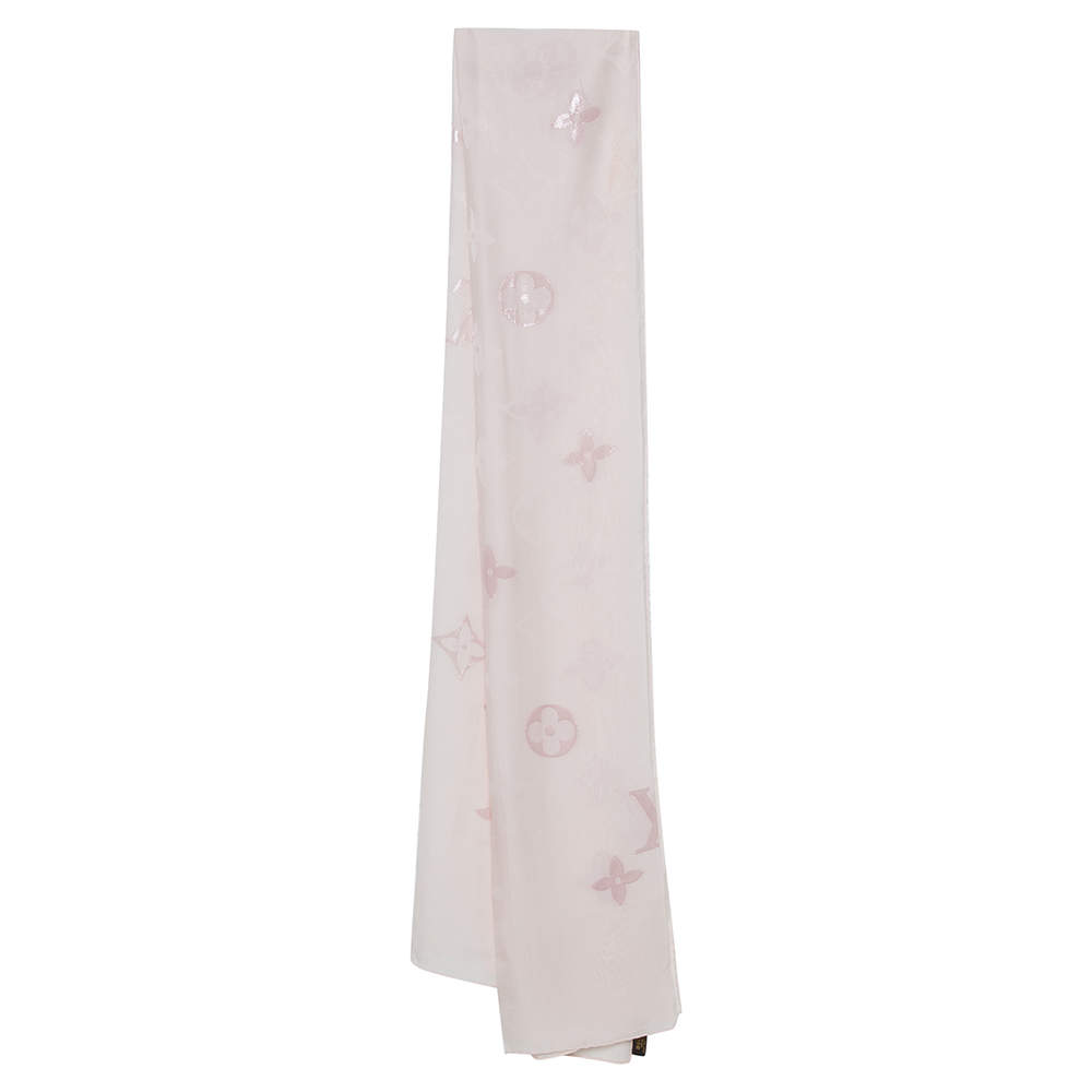 Louis Vuitton Pale Pink Lurex Monogram Patterned Silk Scarf