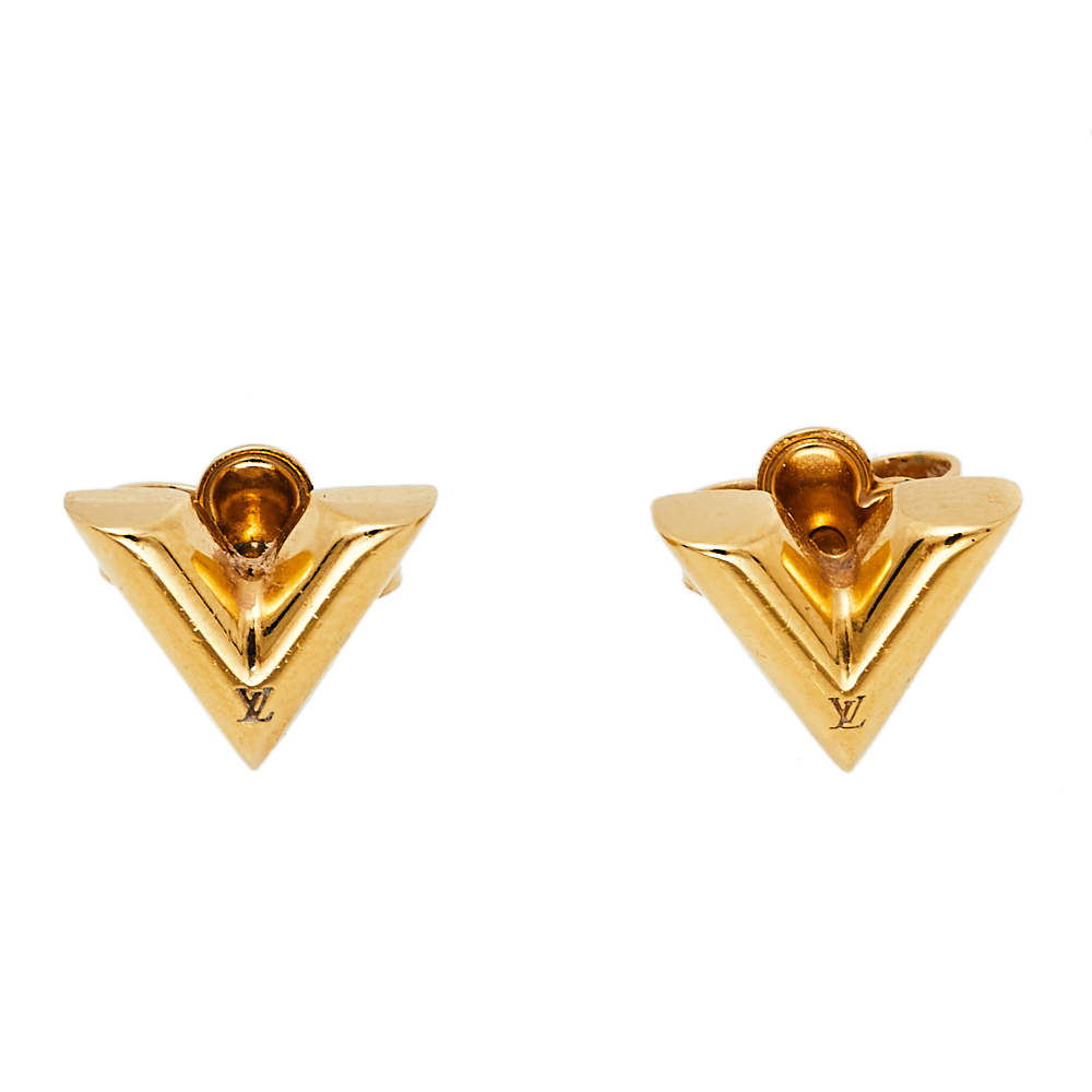 Louis Vuitton Gold Tone Essential V Stud Earrings