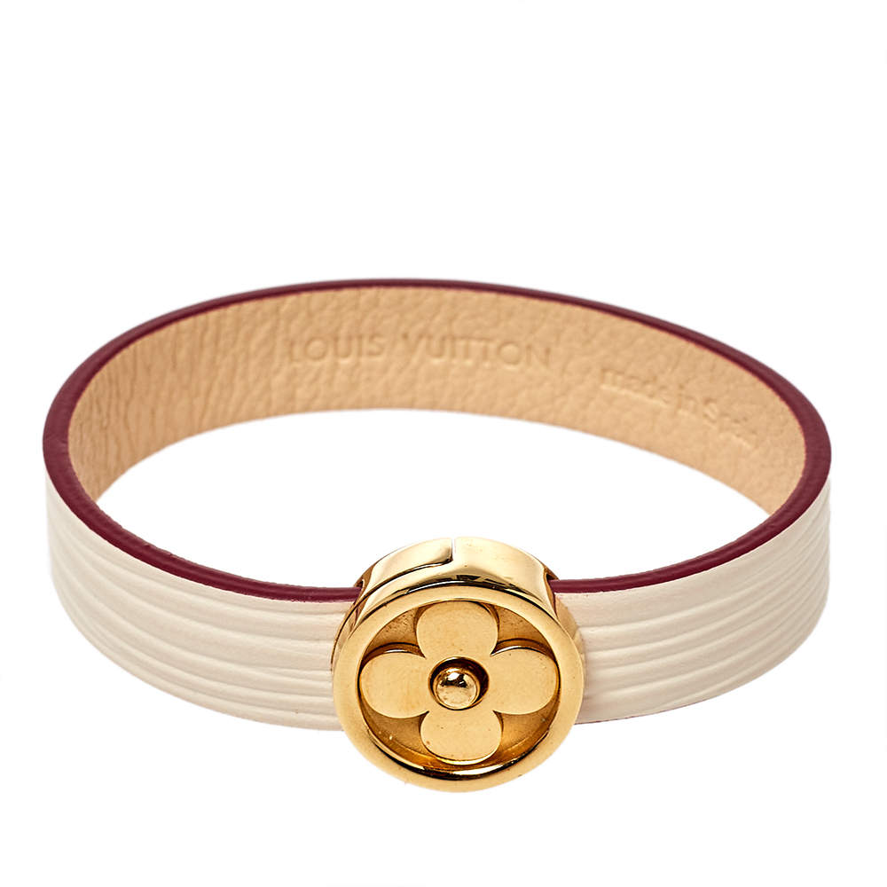 Louis Vuitton Cream Epi Leather Flower Action Bracelet