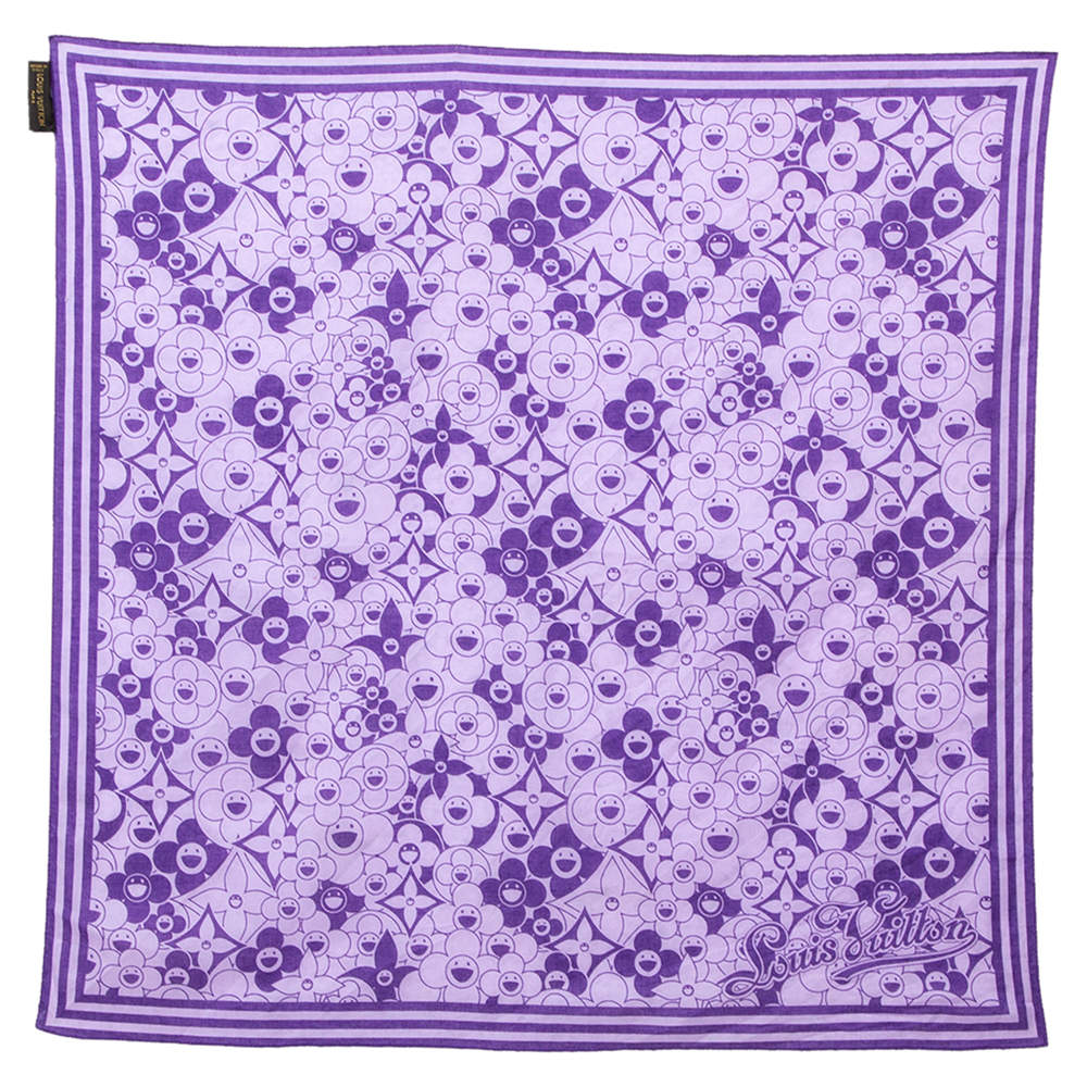Louis Vuitton Purple Cosmic Blossom Printed Cotton Square Scarf