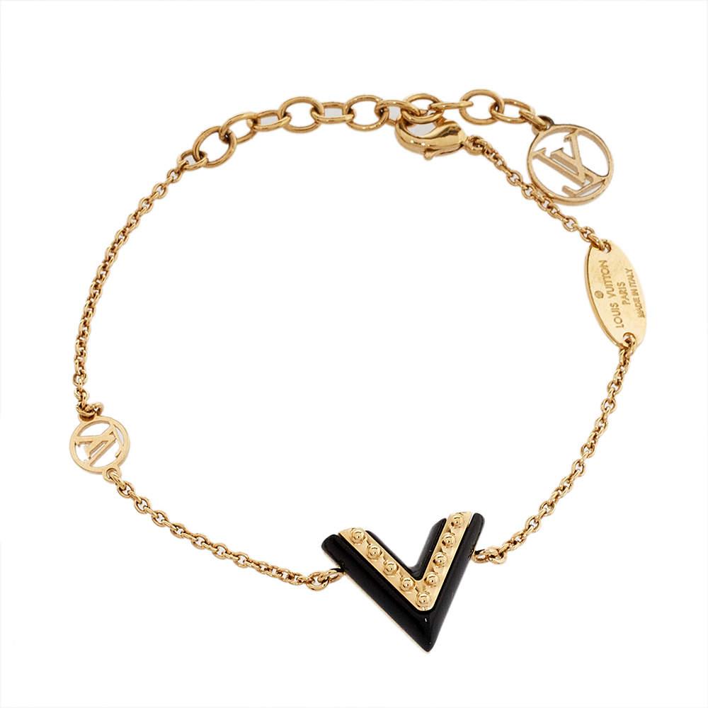 Louis Vuitton Black Lacquer Studded Essential V Bracelet