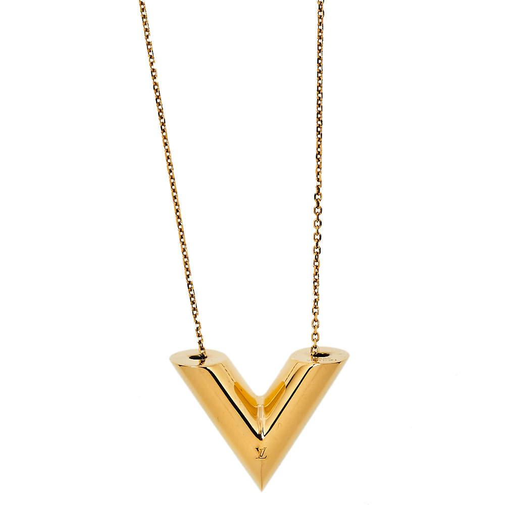 Louis Vuitton Gold Tone Large Essential V Necklace
