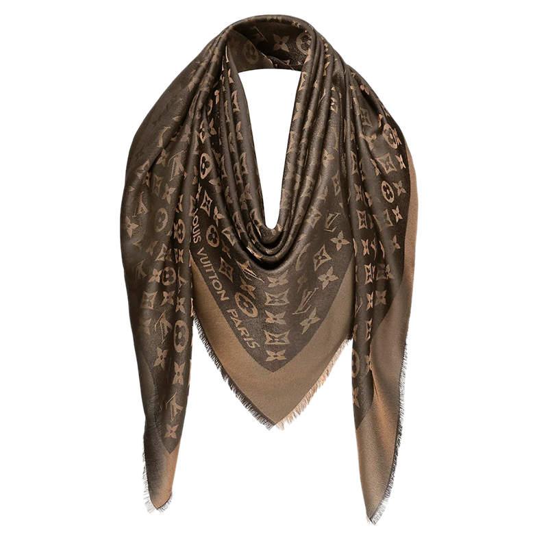 Louis Vuitton Brown Monogram Wool & Silk Shine Shawl