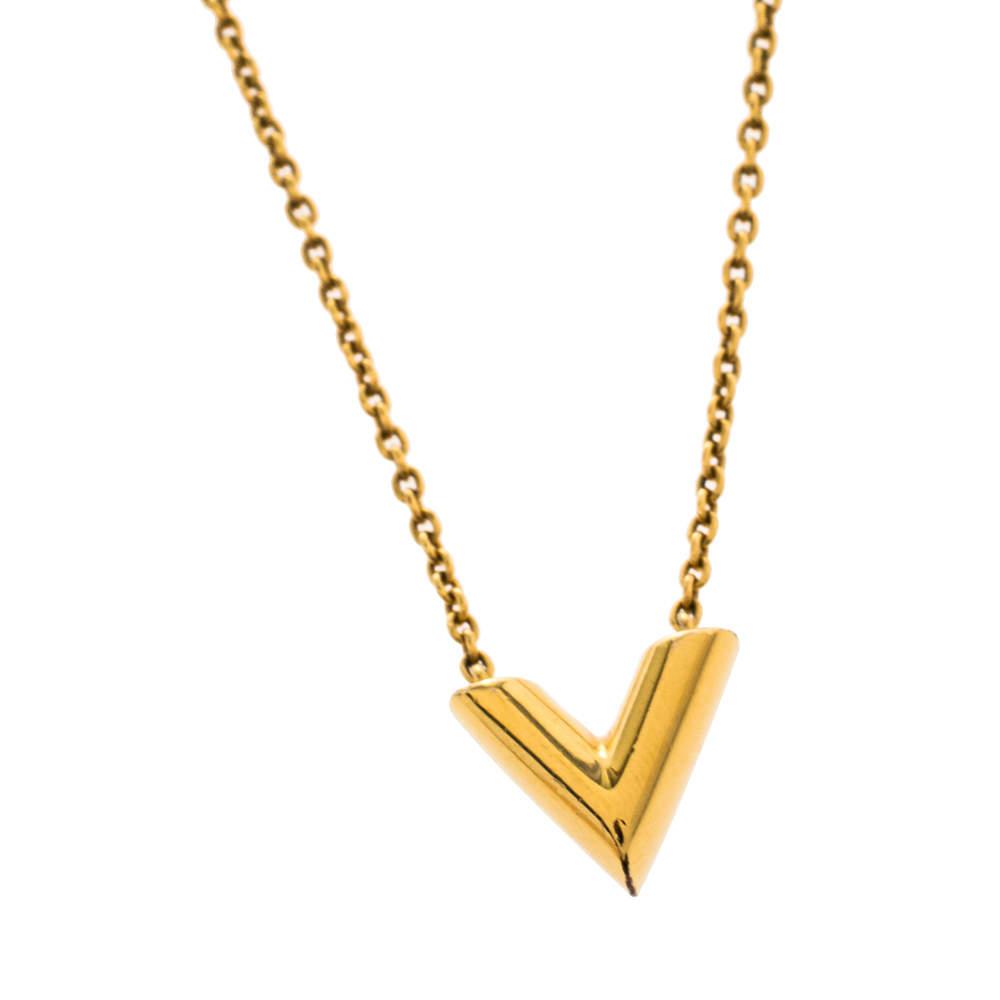 Louis Vuitton Gold Tone Essential V Necklace