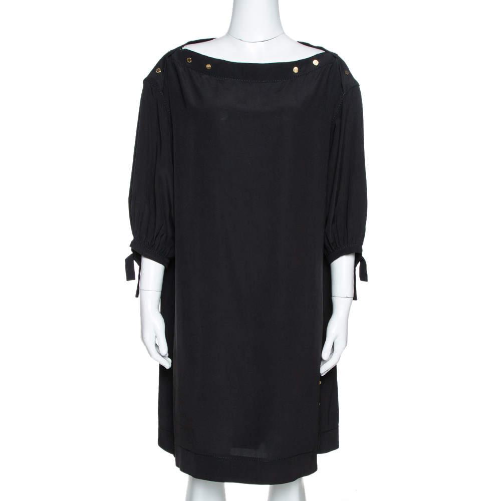 Louis Vuitton Black Silk Button Detail Tunic M
