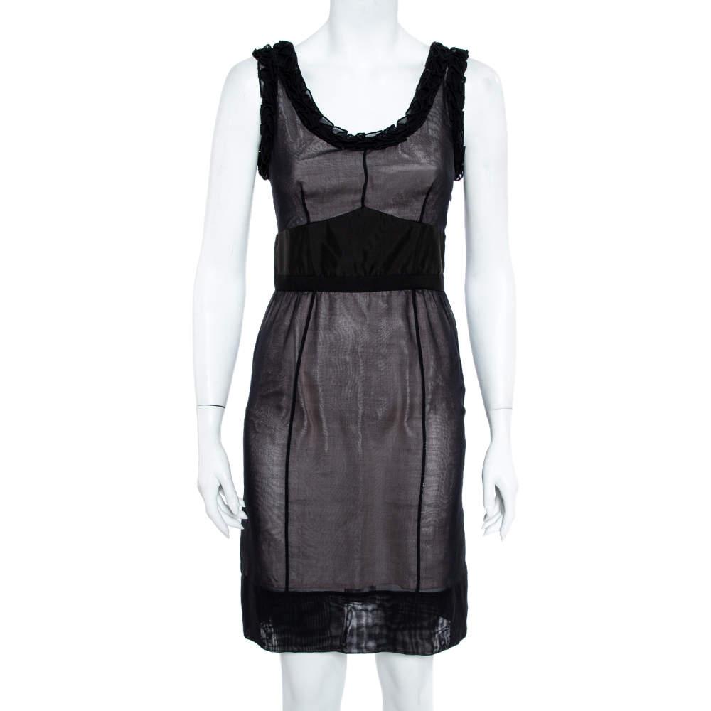Louis Vuitton Black Silk Ruffle Detail Contrast Lined Sheath Dress S