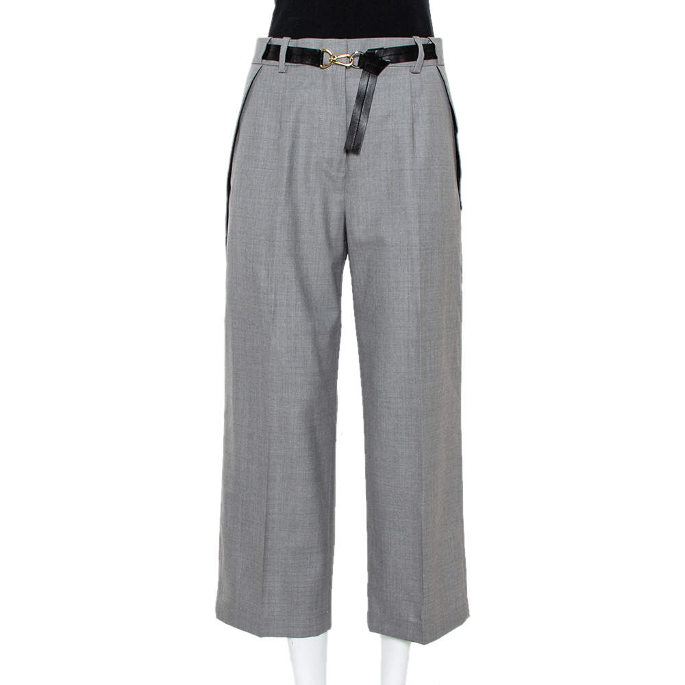 Louis Vuitton Grey Wool Pocket Overlap Detail Belted Cropped Trousers S