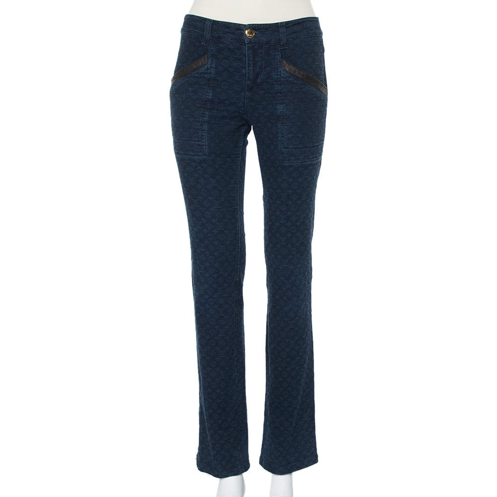 Louis Vuitton Navy Blue Denim Logo Jacquard Detail Tapered Leg Jeans M