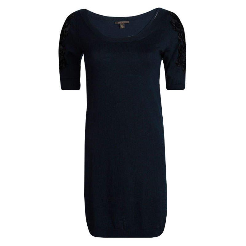 Louis Vuitton Navy Blue Wool Floral Applique Sleeve Detail Sweater Dress XS