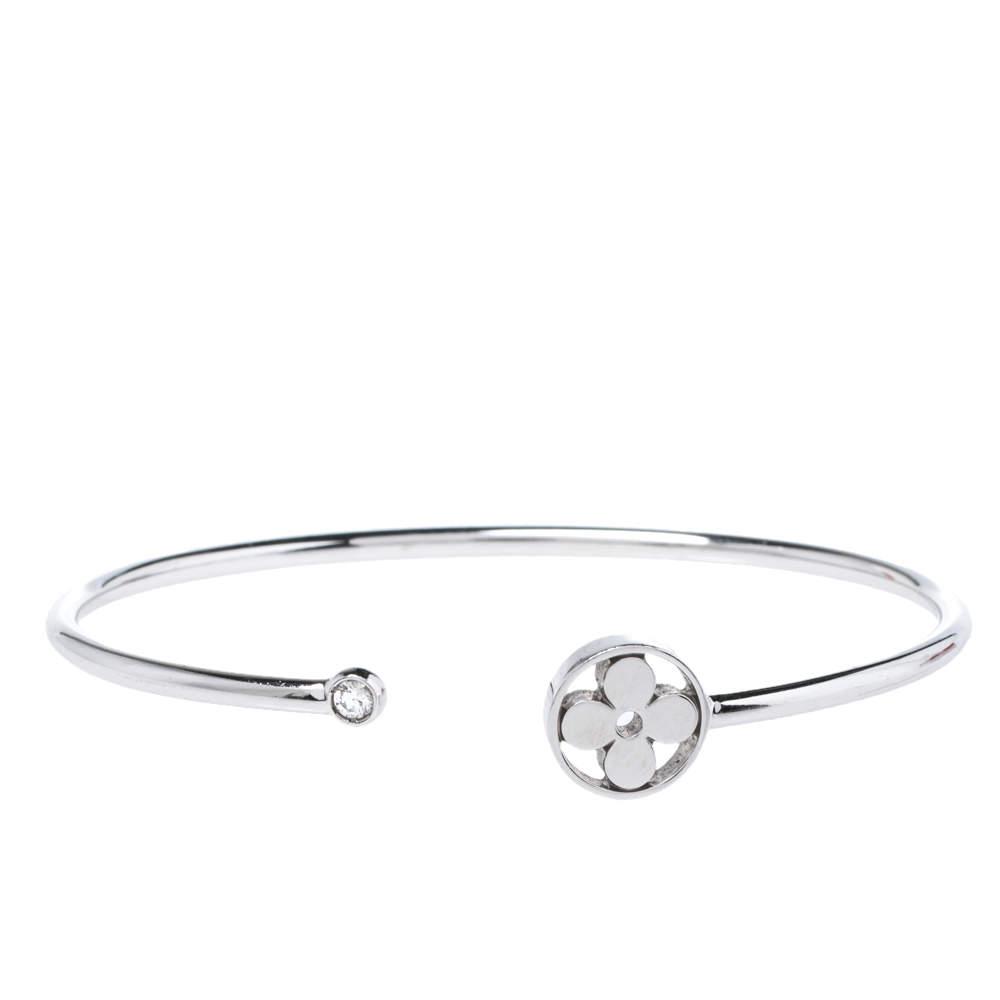 Louis Vuitton Idylle Blossom Diamond 18K White Gold Open Cuff Twist Bracelet