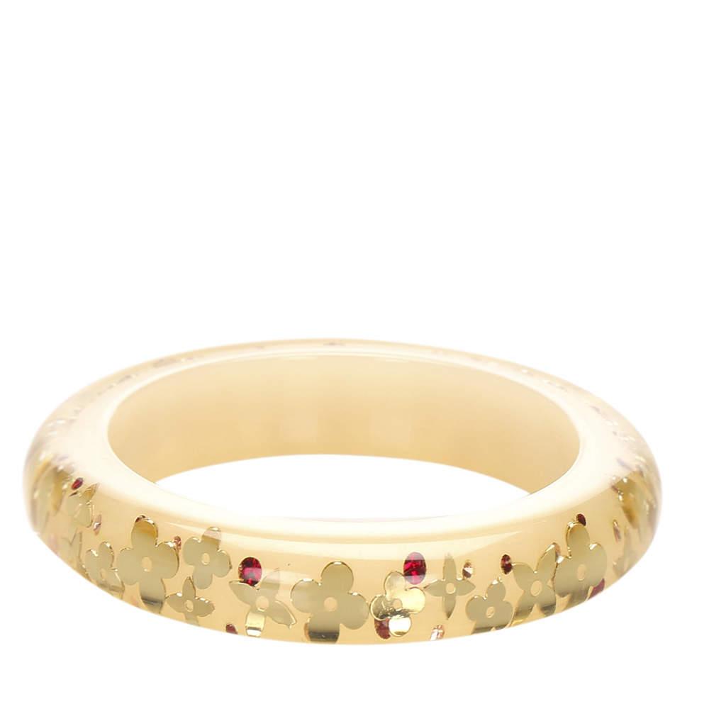 Louis Vuitton Gold/Beige Monogram Inclusion Bangle