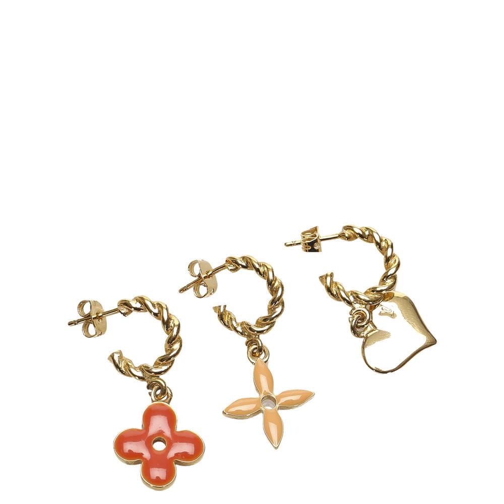 Louis Vuitton Gold Tone Monogram Sweet Set of Three Earrings