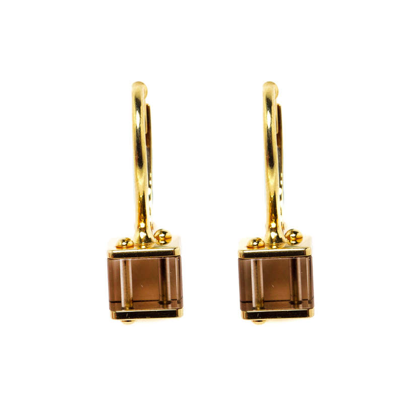 Louis Vuitton Emprise Cube Smoky Quartz 18k Yellow Gold Drop Earrings