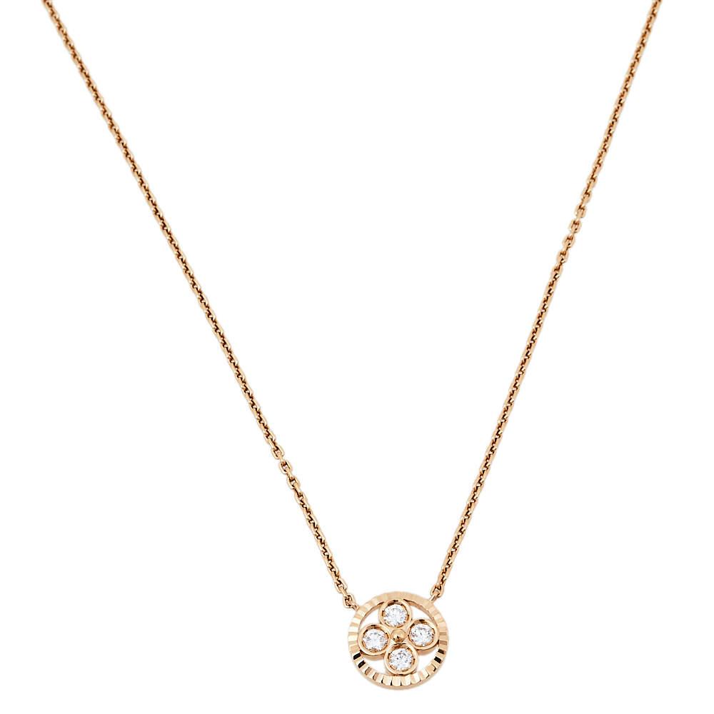 Louis Vuitton Monogram Sun Diamond 18K Rose Gold Pendant Necklace
