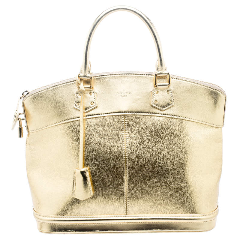 Louis Vuitton Gold Suhali Leather Lockit MM Bag