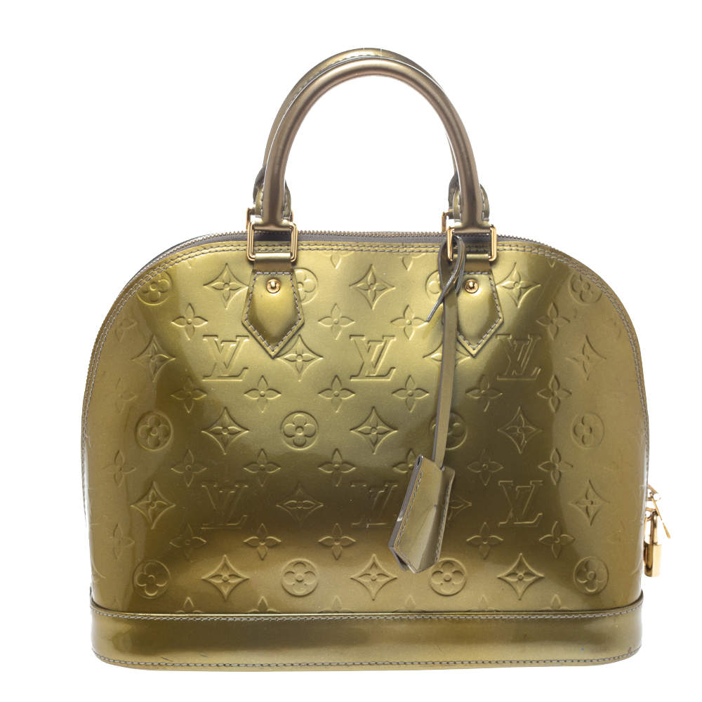 Louis Vuitton Vert Olive Monogram Vernis Leather Alma PM Bag