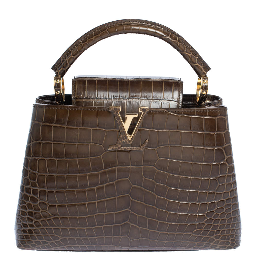 Louis Vuitton Mocha Brown Porosus Crocodile Capucines BB Bag