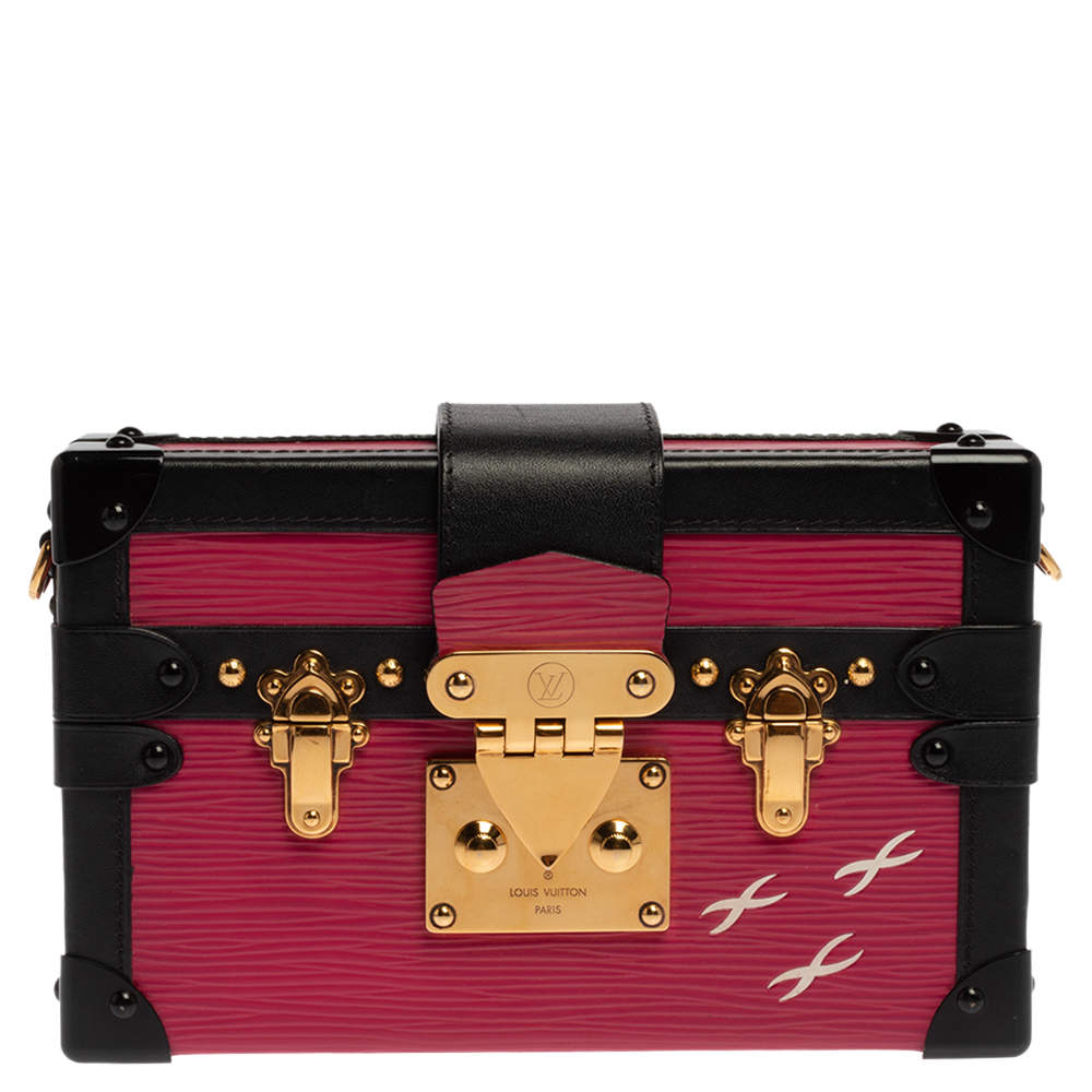 Louis Vuitton Fuchsia/Black Epi Leather Petite Malle Bag