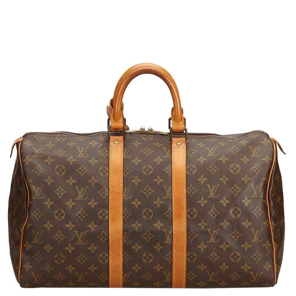 Louis Vuitton Brown Monogram Canvas Keepall 45 Bag