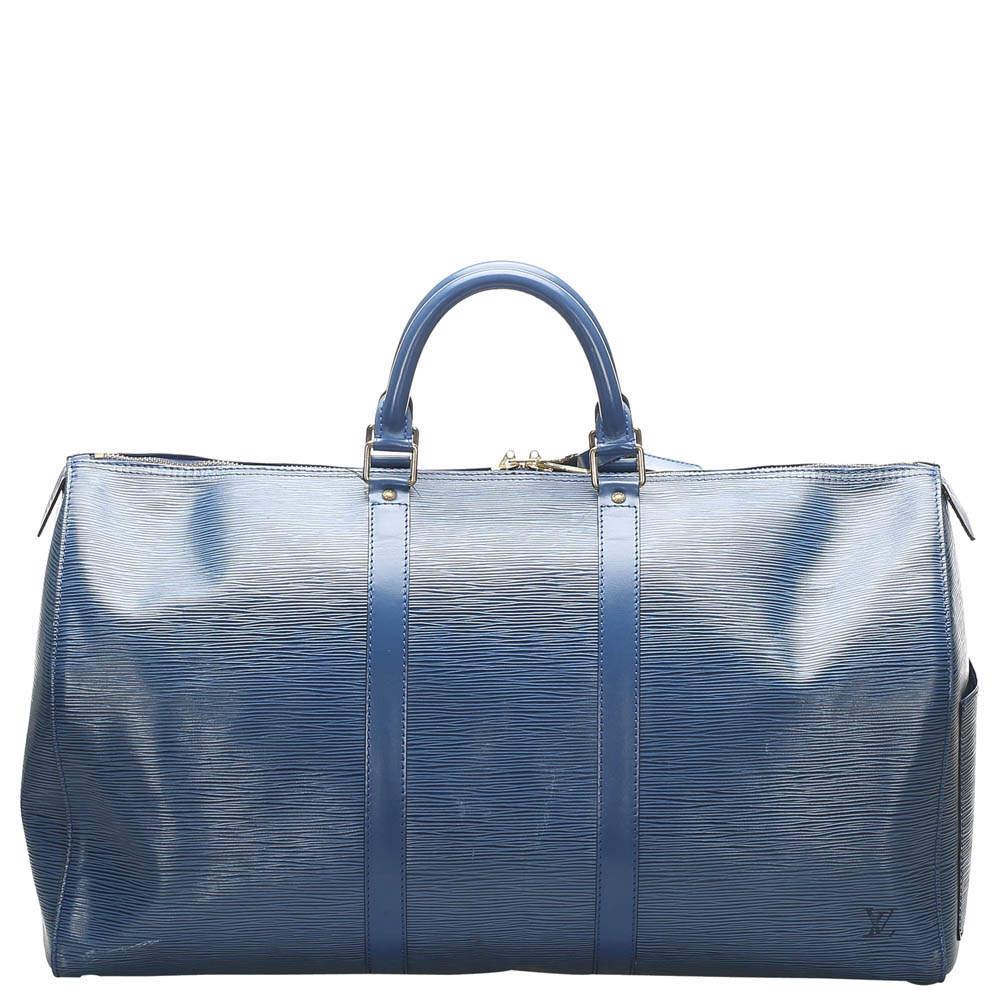 Louis Vuitton Blue Epi Leather Keepall 50 Bag