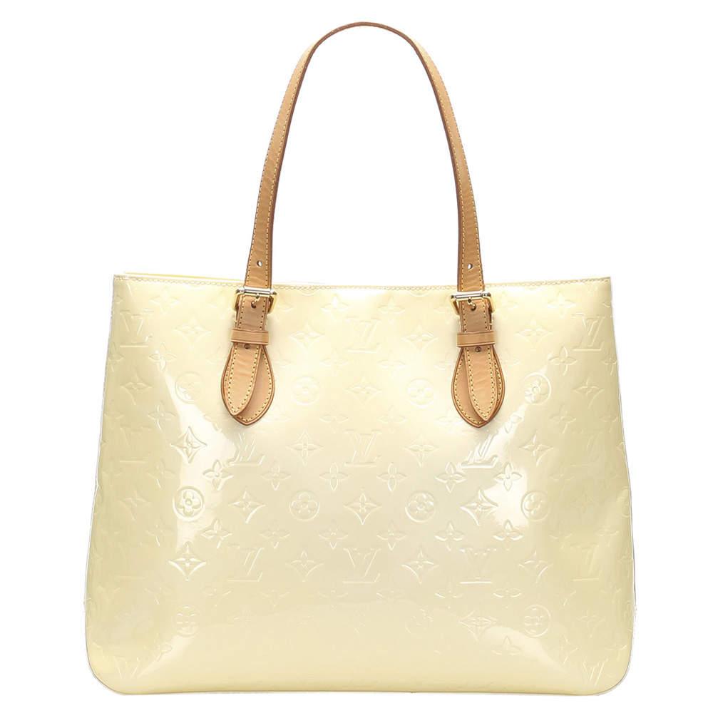 Louis Vuitton Cream Monogram Vernis Brentwood Bag