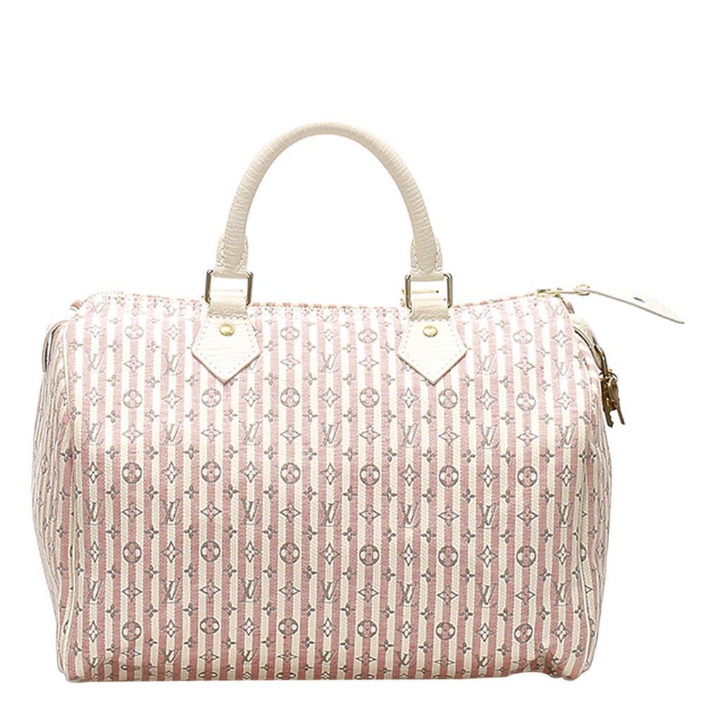 Louis Vuitton Pink/White Monogram Mini Lin Canvas Croisette Speedy 30 Bag