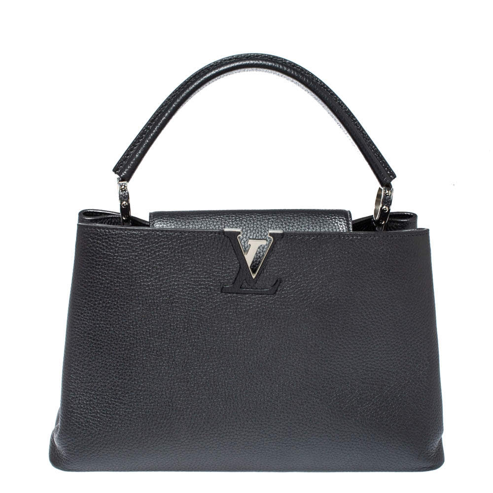 Louis Vuitton Dark Grey Taurillon Leather Capucines MM Bag