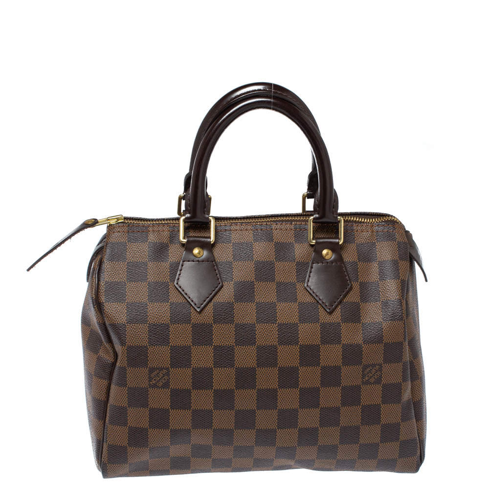 Louis Vuitton Damier Ebene Canvas Speedy 25 Bag
