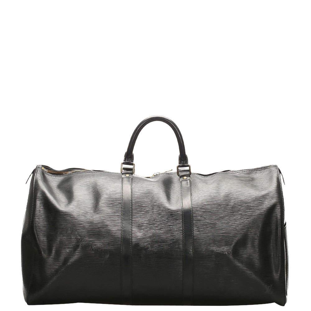 Louis Vuitton Black Epi Leather Keepall 55 Bag