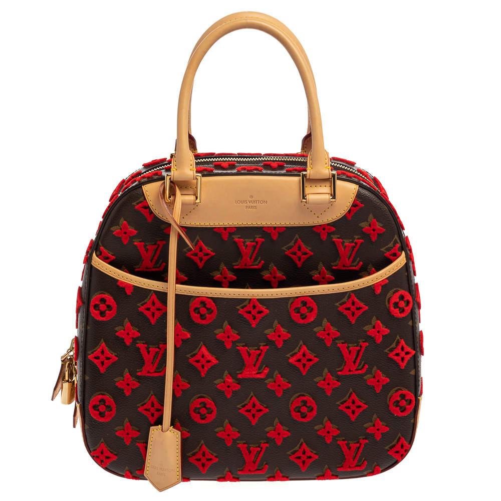 Louis Vuitton Rouge Monogram Canvas Tuffetage Deauville Cube Bag