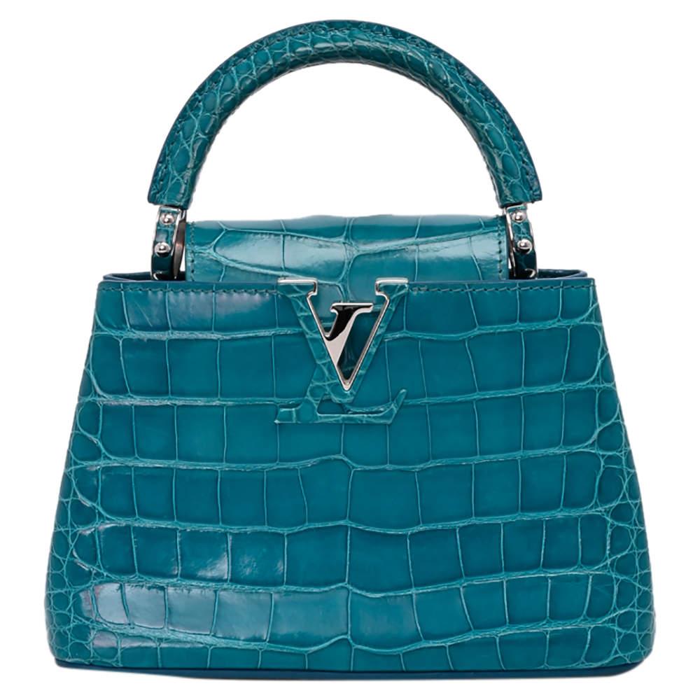 Louis Vuitton Blue Crocodilien Brillant Leather Capucines BB Bag