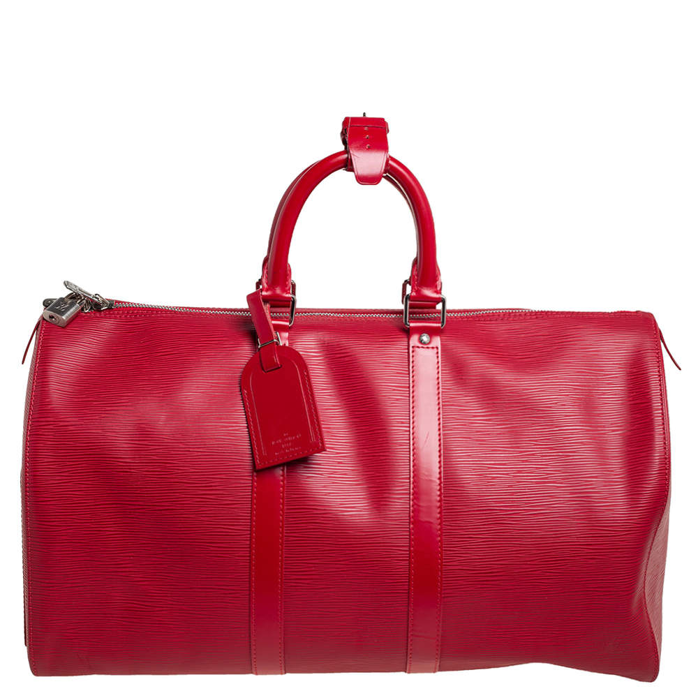 Louis Vuitton Red Epi Leather Keepall 45