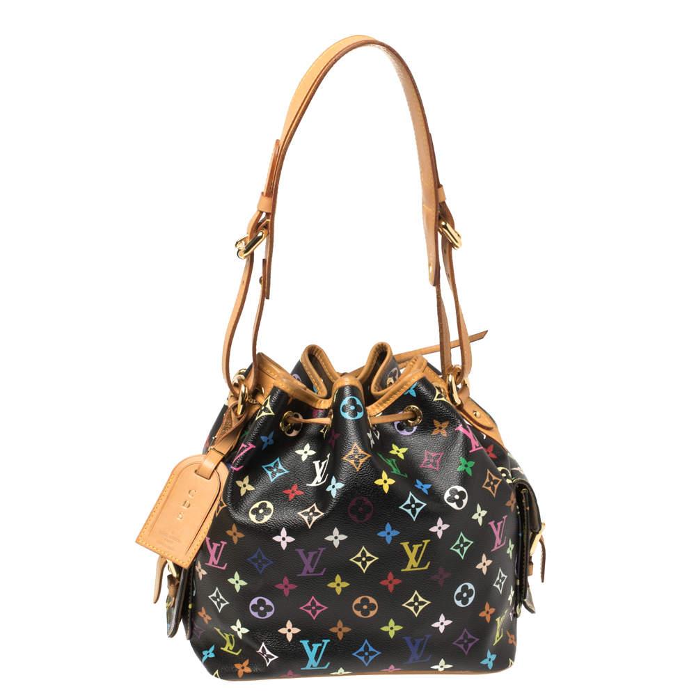 Louis Vuitton Black Multicolore Monogram Canvas and Leather Petit Noe Bag
