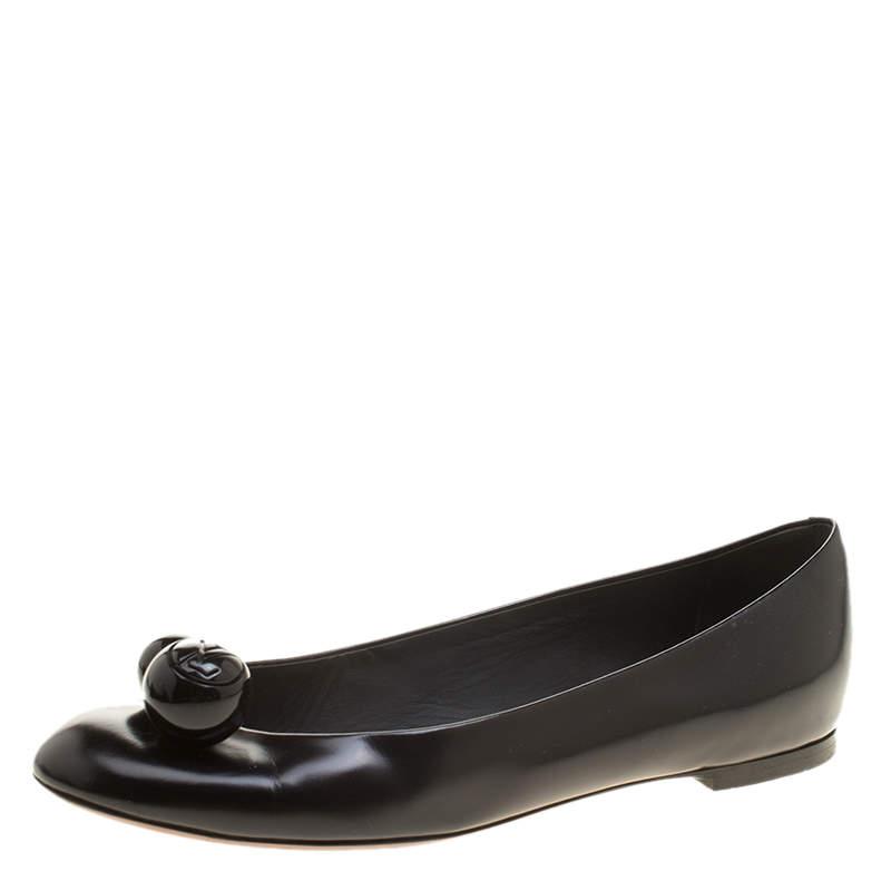 Louis Vuitton Black Leather Betty Ballet Flats Size 37