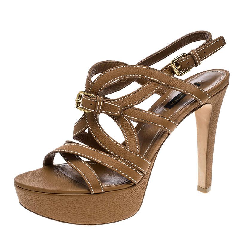 Louis Vuitton Brown Leather Platform Stappy Sandals Size 39