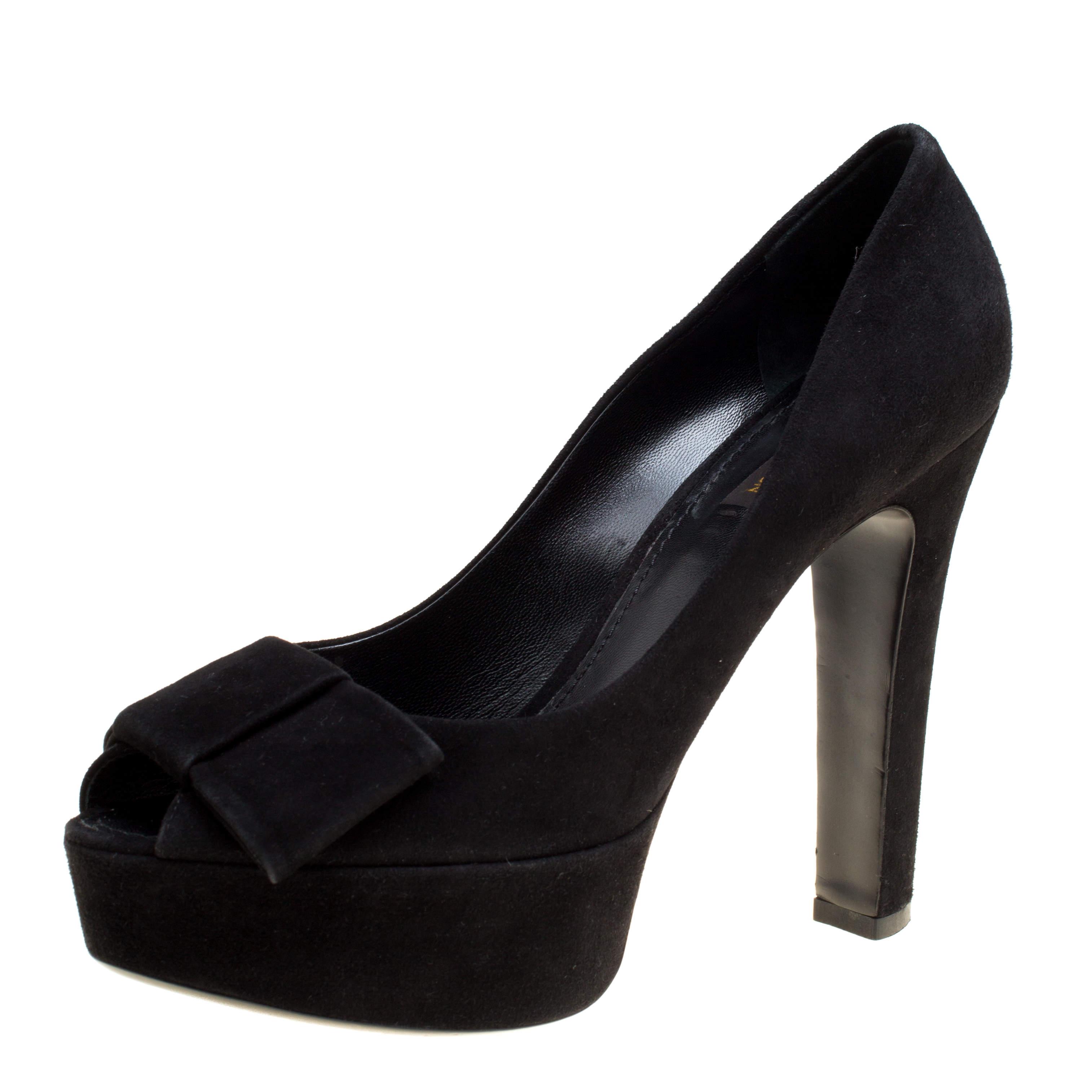 Louis Vuitton Black Suede Peep Toe Bow Detail Platform Pumps Size 39.5