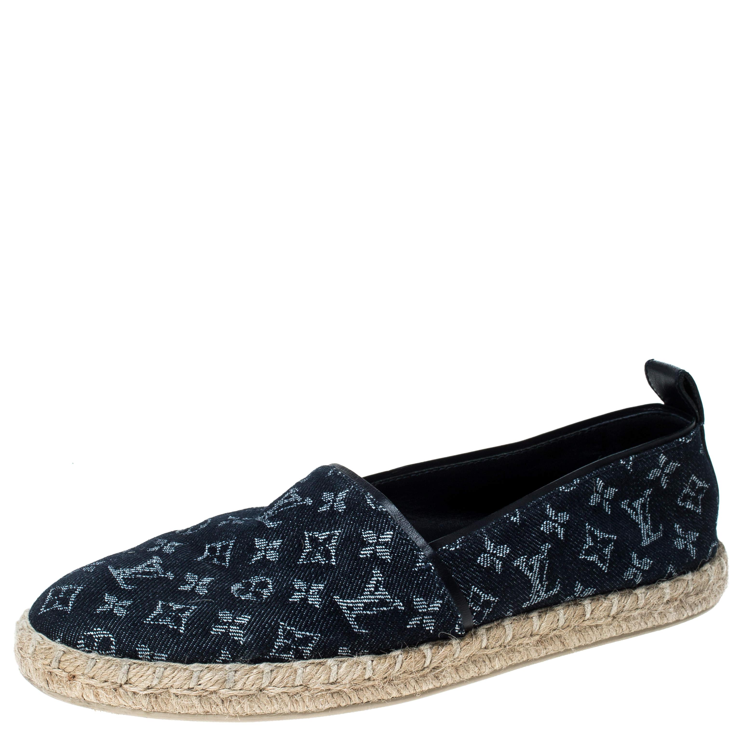 Louis Vuitton Monogram Denim Espadrille Loafers Size 38