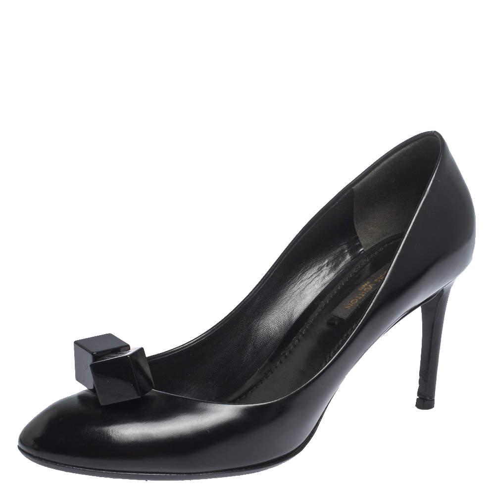 Louis Vuitton Black Leather Gossip Pumps Size 37.5