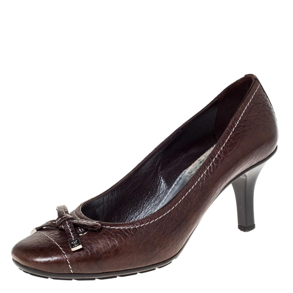 Louis Vuitton Brown Leather Bow Pumps Size 37