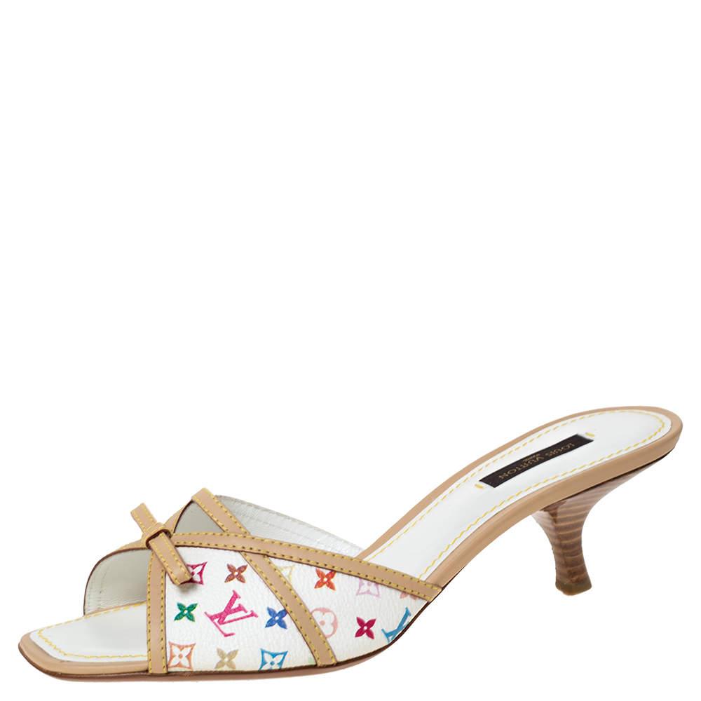 Louis Vuitton White Multicolor Mini Lin Monogram Canvas Slide Sandals Size 38