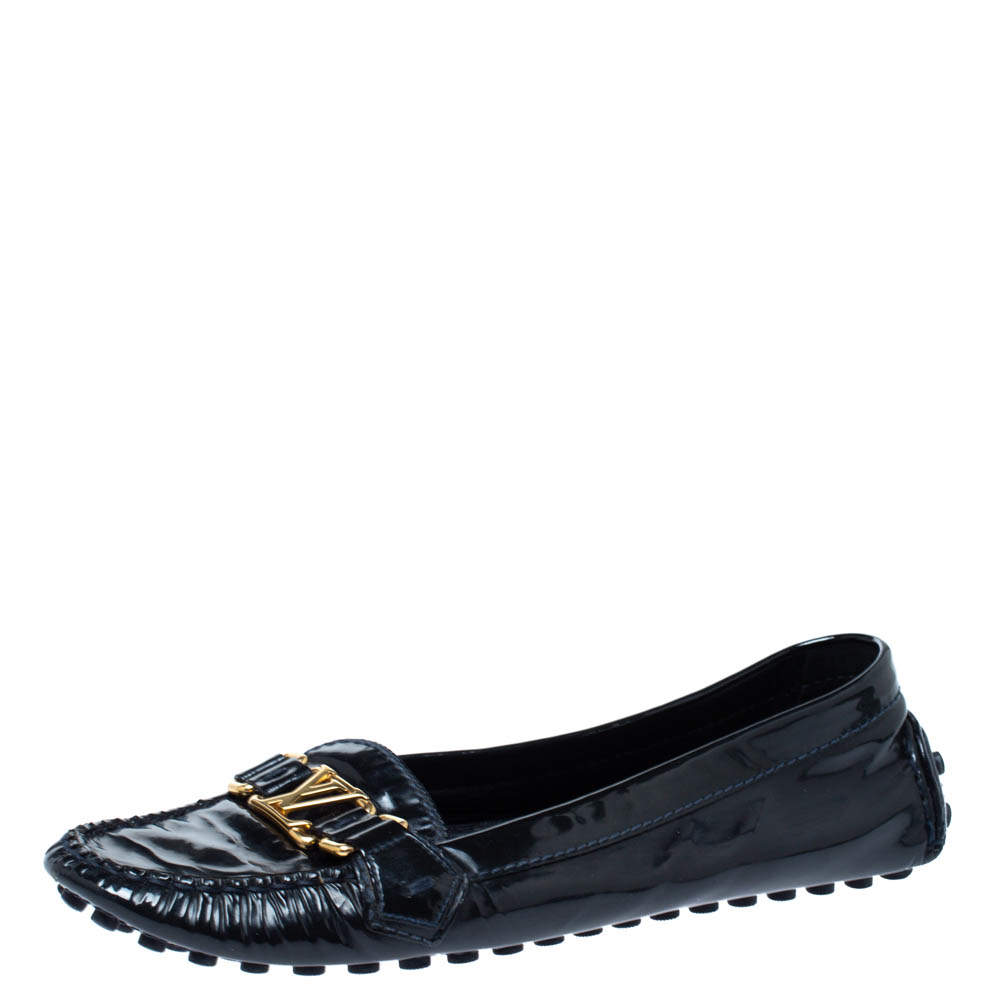 Louis Vuitton Black Patent Leather Logo Slip On Loafers Size 41