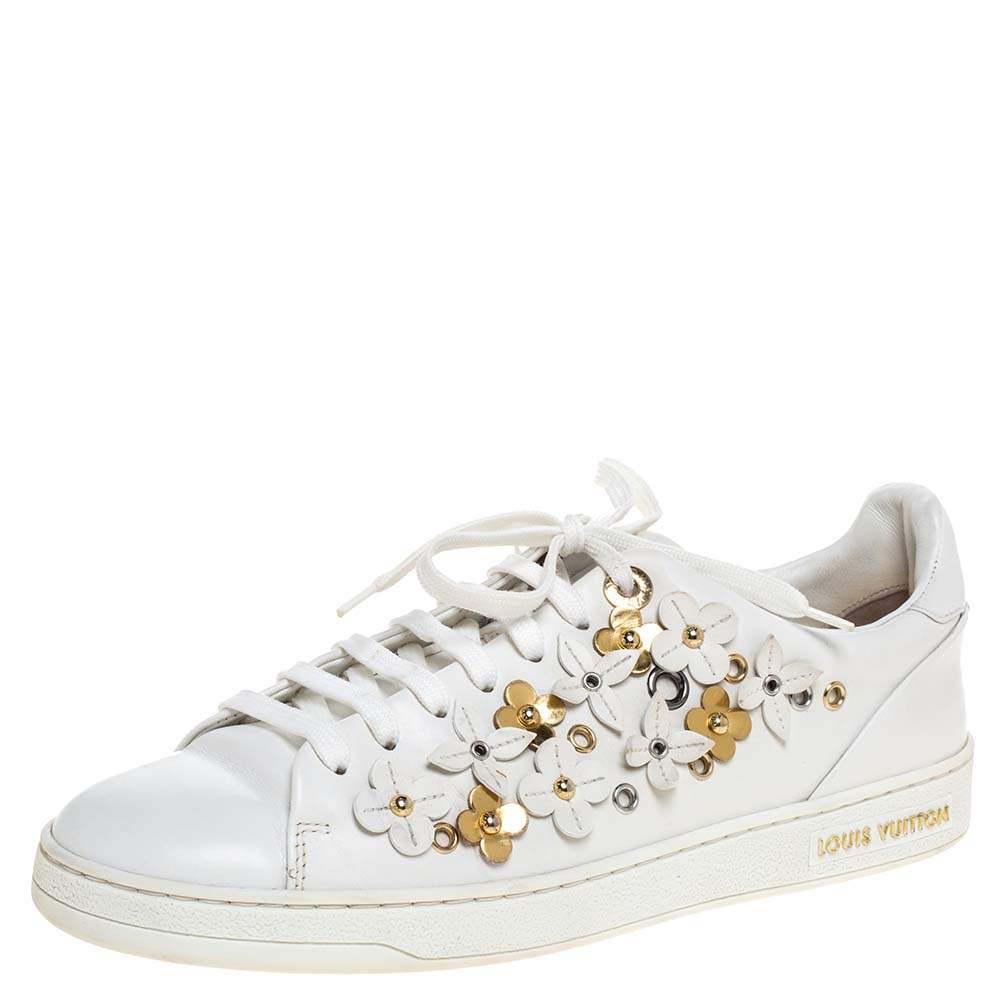 Louis Vuitton White Leather Frontrow Blossom Floral Embellished Low Top Sneakers Size 38