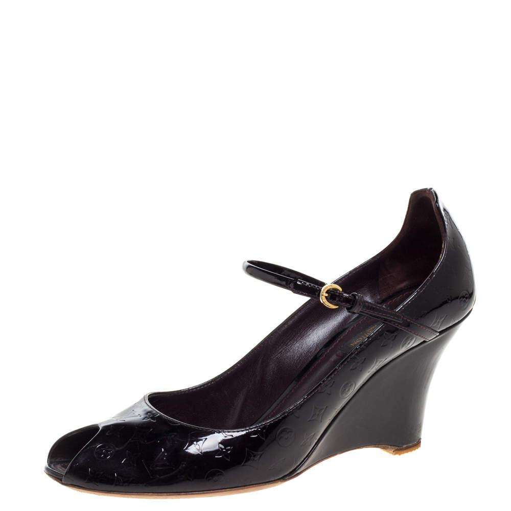 Louis Vuitton Amarante Monogram Vernis Peep Toe Ankle Strap Wedge Pumps Size 39.5