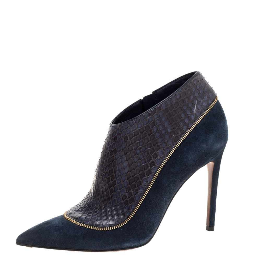 Louis Vuitton Navy Blue Python and Suede Zip Detail Ankle Boots Size 38