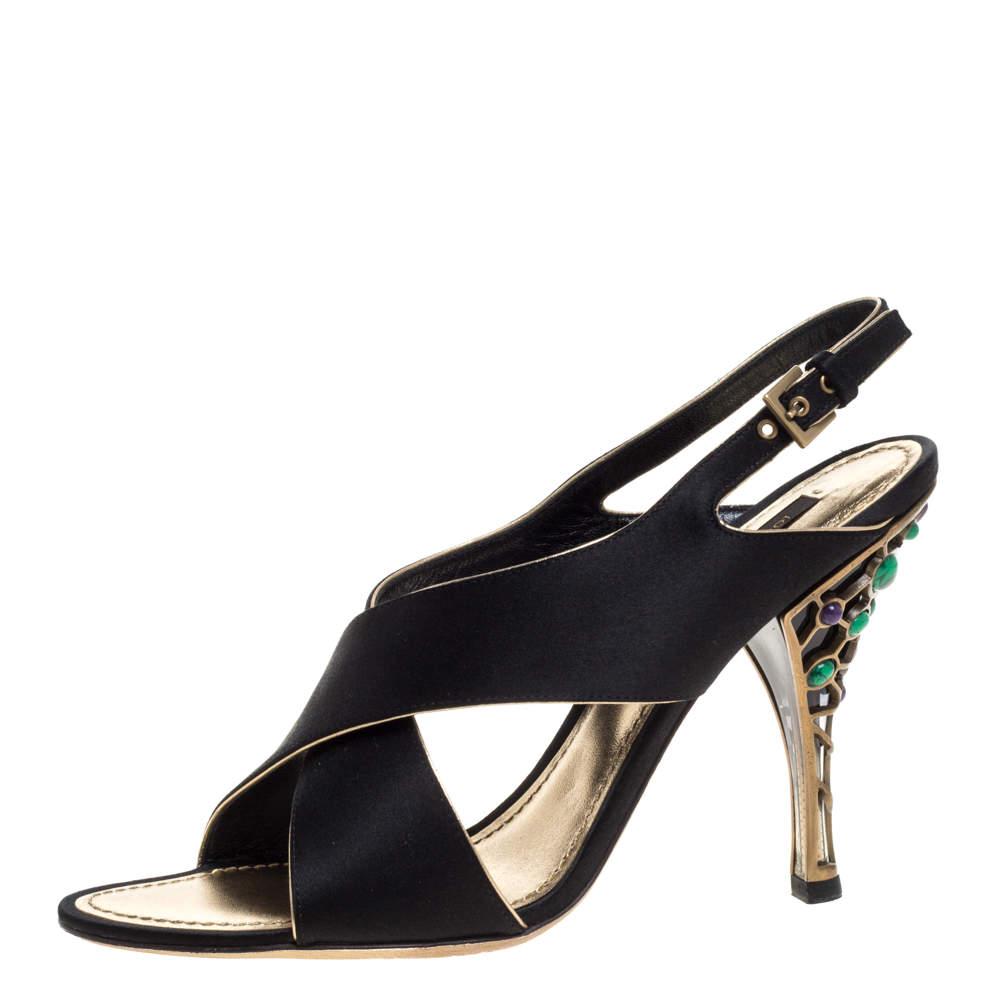 Louis Vuitton Black Satin Cross Strap Embellished Heel Slingback Sandals Size 39