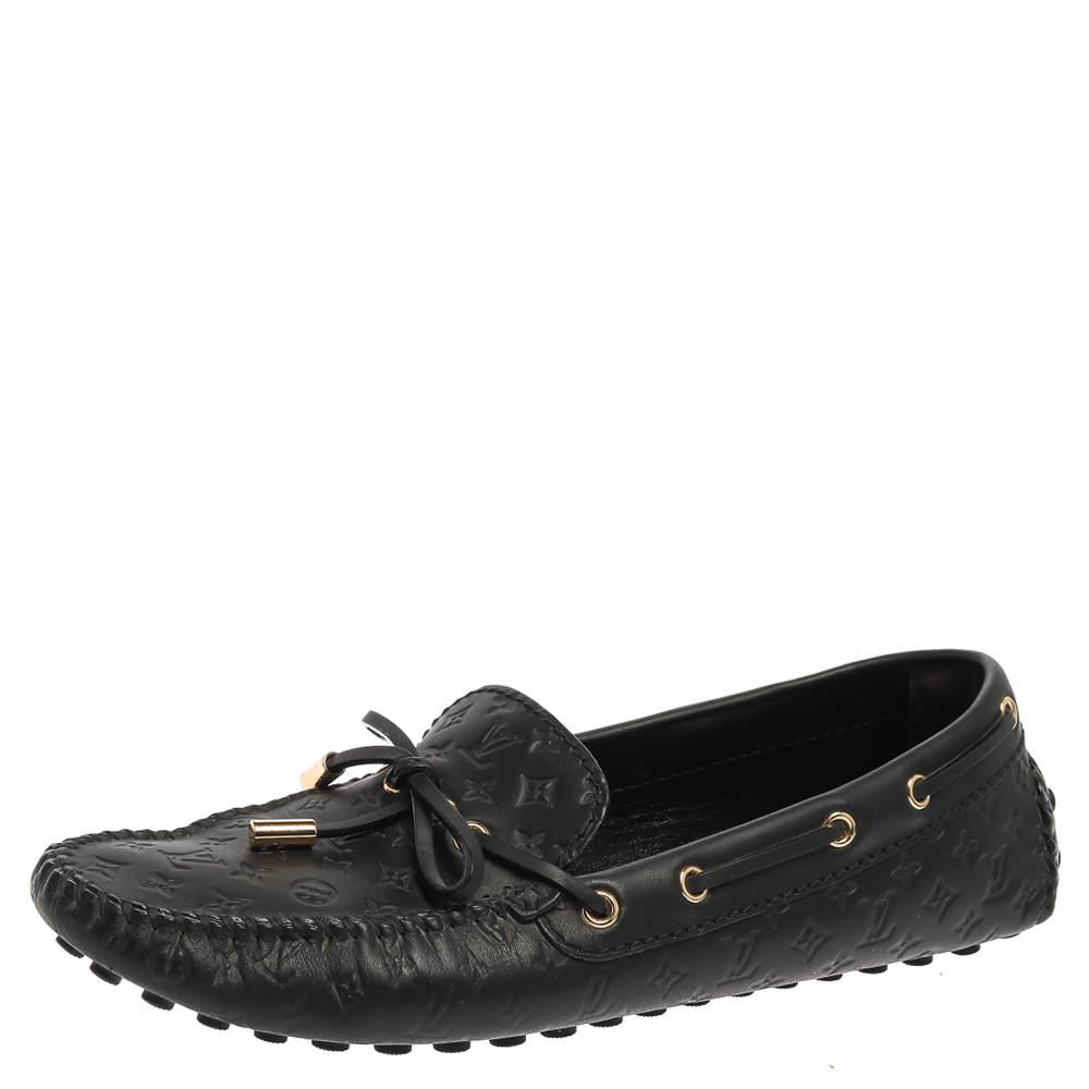 Louis Vuitton Black Monogram Leather Gloria Loafers Size 39