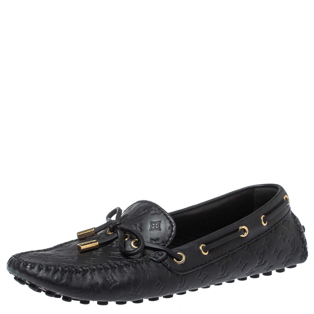 Louis Vuitton Black Monogram Empreinte Leather Gloria Loafers Size 37.5